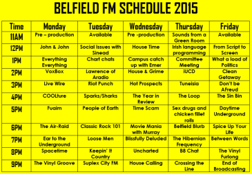 New Belfield FM Schedule 2 Nov